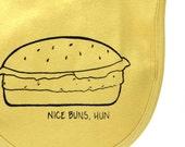Burger bib, organic baby bib, screen printed, nice buns, witty baby bib, velcro bib