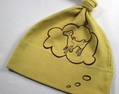 Knotted baby hat organic cotton dog with a saddle funny baby hat