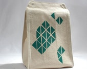 Recycled cotton lunch bag geometric triangle print with green water based ink