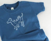 Organic toddler t-shirt, dog with a saddle, galaxy blue with white 2T 4T 6T funny children t-shirt witty kid's shirt
