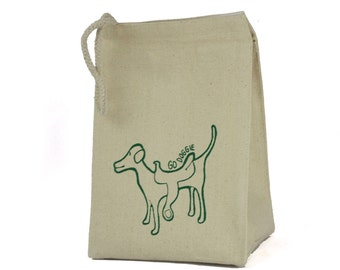 Recycled cotton lunch bag go doggie pattern green eco friendly ink