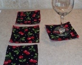 Set of 4 Coasters Cherry Rockabilly Forbidden Fruit