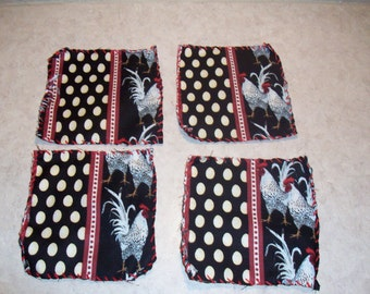 Handmade coaster set of 4 Rosters and eggs Damask