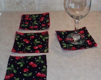 Set of 4 Coasters Cherry Rockabilly Forbidden Fruit