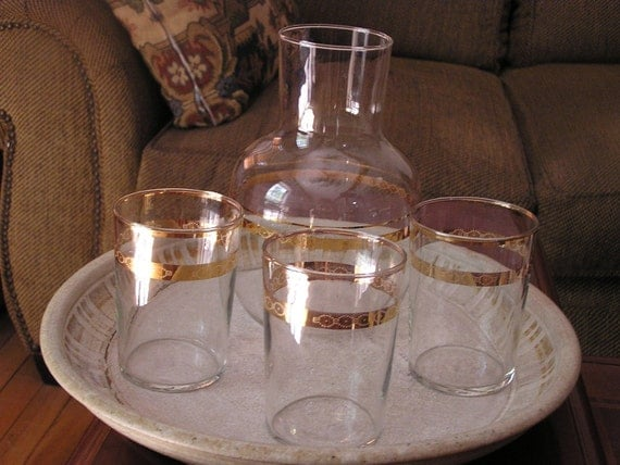 Libbey Carafe and Glasses with Gold Trim