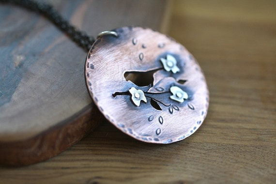 Copper and silver necklace