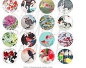 Bottlecap 1 inch Round, Digital Collage Sheet, Altered Art, Asian-Orient Theme, Printable Download, Horses, Coy Fish, More