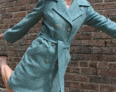 RESERVED LISTING - Women's Trench coat in Turquoise Donegal wool tweed, balance
