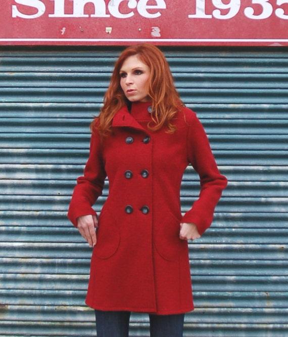 Virgin merino wool Ruby Red coat, boiled wool knit, made to order, last one