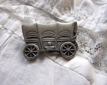 COVERED WAGON antique silver metal pin brooch vintage