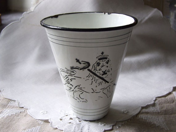 Vintage Polish enamelware cup, lion in crown with pennant, exceptional unique collectible graniteware kitchenware country home c. 1930