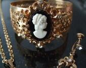 Vintage Cameo Parure, Necklace, Bracelet, Earrings