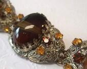 RESERVED ITEM Bracelet, Victorian Revival, Banded Agate Filigree