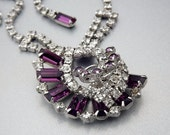 Amethyst Necklace Rhinestone Bride Wedding Vintage Jewelry