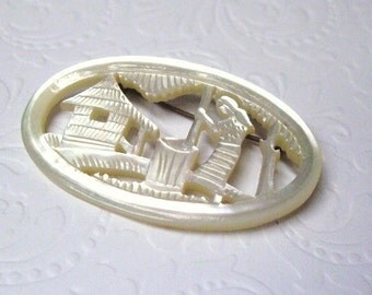 Antique Carved Mother of Pearl Brooch, Farm Scene, Carved Shell Brooch, Unusual Jewelry, Folk Art