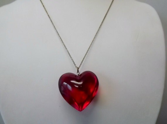 Necklace, Red Lucite Heart
