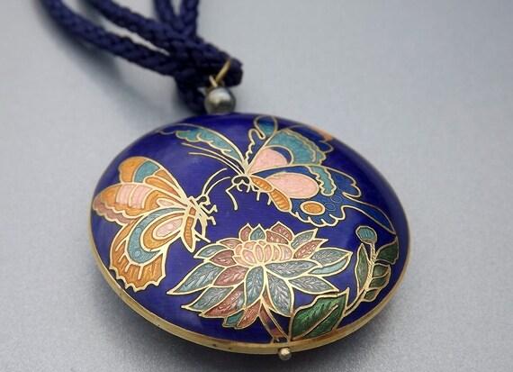 Vintage Cloisonne Necklace Blue Vintage Costume Jewelry