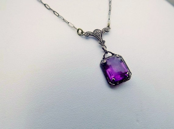 Art Deco Amethyst Necklace Sterling Silver