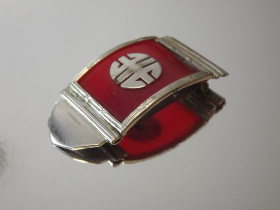 Vintage Art Deco Dress Clip Red Bakelite Asian Good Luck Motif