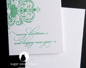 "Letterpress printed holiday card set ""Merry Christmas Filigree"""