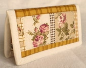 Quilted Tissue Holder - Cozy Brown - Country Roses and Flowers with Mustard Checks