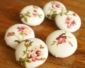 Fabric Buttons - Little Floral - 6 Small Pink Roses on Beige Fabric Covered Buttons