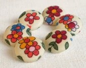 Fabric Buttons - Flowers For Little Girls - 6 Small Red, Yellow, Blue, Green and Beige Spring Floral Fabric Covered Buttons