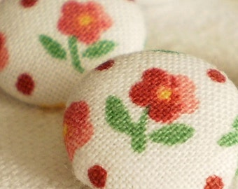 Fabric Buttons - Little Red Flowers From My Garden - 6 Small Fabric Covered Buttons, Red White Green Fabric Buttons, for Sewing, Knitting
