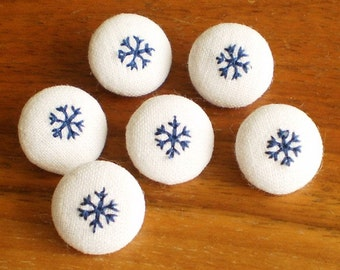 Fabric Covered Button - Embroidered Snowflakes, 6 Small Blue and White Fabric Buttons, Winter Fresh Navy Blue, Fabric Button Clothing