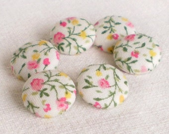 Fabric Buttons - Just Spring - 6 Small  Fabric Covered Buttons - Pink, Yellow Flowers and Green Leaves on White, Sewing Clothing Knitting