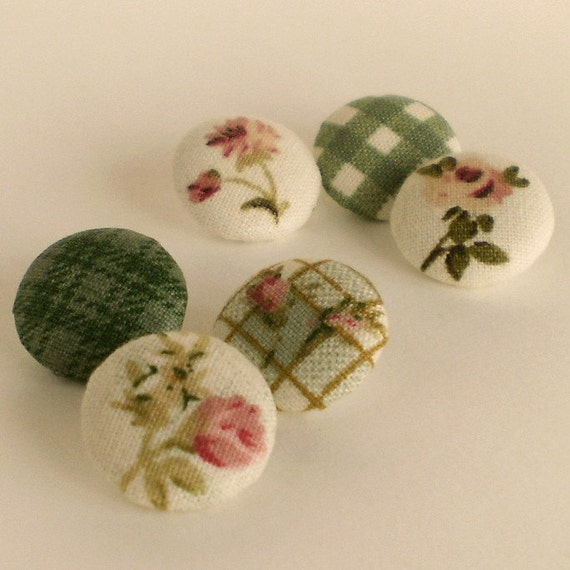 Fabric Buttons Green Garden 6 Small Beige, Pink Floral, Rose and Gingham Fabric Covered Buttons
