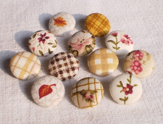 Fabric Buttons - Autumn Cozy Brown Mix - 12 Small Fabric Covered Buttons - Fall Yellow, Mustard, Pink Flowers, Gingham, Rose, Checks, Leaves