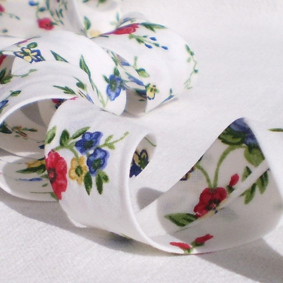 Bias Tape Binding - Wildflower Meadow - 4 Yards Handmade Floral Cotton Fabric, Flowers Bias Tape for Clothing, Sewing, Quilting, Patchwork