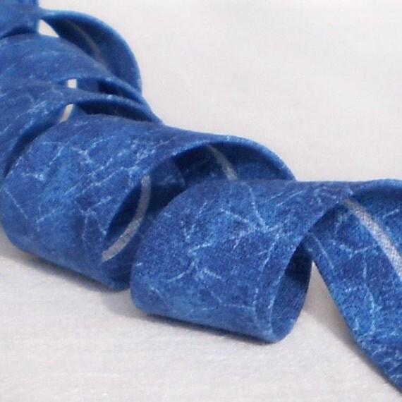 Bias Tape Binding - Ocean Waves - 4 Yards Handmade Blue Aqua Cotton Fabric