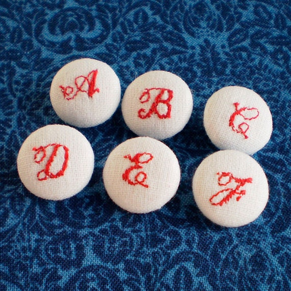 Fabric Buttons, Embroidered ABC, 6 Small White, Red, Blue Personalized Fabric Covered Buttons, Handmade Fabric Button, Embroidery Letters