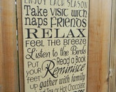 Deck Rules or Cabin Rules typography large wood sign