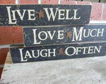 Live Well - Laugh Often - Love Much (set of 3) shelf sitter wood block signs