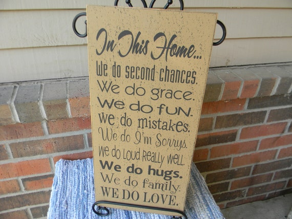 In this Home - vintage tan typography wood sign