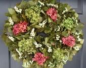 Hydrangea and Statice Year Round Wreath - elegantholidays