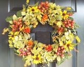 Fall Wreath- Fall Hydrangea Wreath- Door Wreath for Fall- Fall Berry Wreath- Thanksgiving Wreath- Fall Decor- Autumn Wreath- Fall Decoration