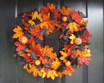 Orange Pumpkins with Orange Black Leaves Halloween Wreath, Halloween Decor, Halloween Decoration  LAST ONE for 2015