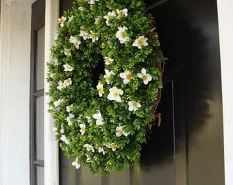 Custom Size Artificial Boxwood Wreath- Spring Wreath- Summer Wreath- Year Round Wreath