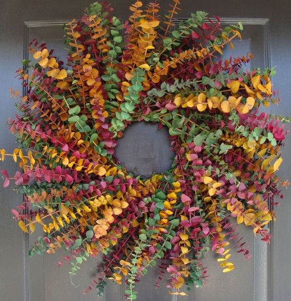 Eucalyptus Wreath in Sage, Plum and Amber- Spring Wreath- Year Round Eucalyptus Wreath