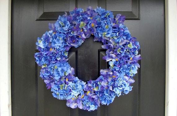 Blue Hydrangea and Iris Wreath, Summer Wreath, Year Round Wreath, Spring Wreath, Hydrangea Wreath