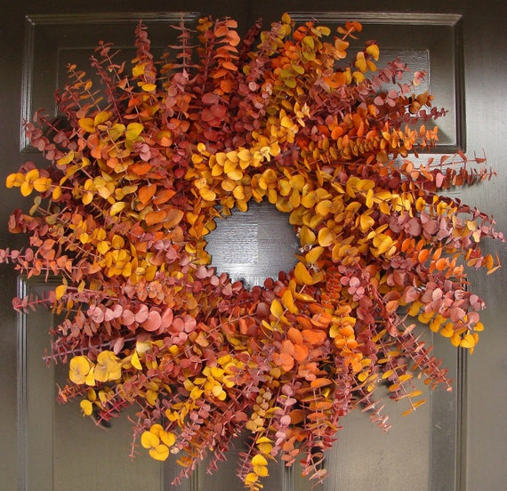 Fall Holiday Wreath- Eucalyptus Dried Floral Wreath- Preserved Eucalyptus Wreath Fall Decor- Natural Eucalyptus
