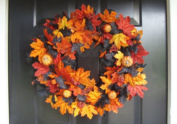 Orange Pumpkins with Orange Black Leaves Halloween Wreath, Halloween Decor, Halloween Decoration