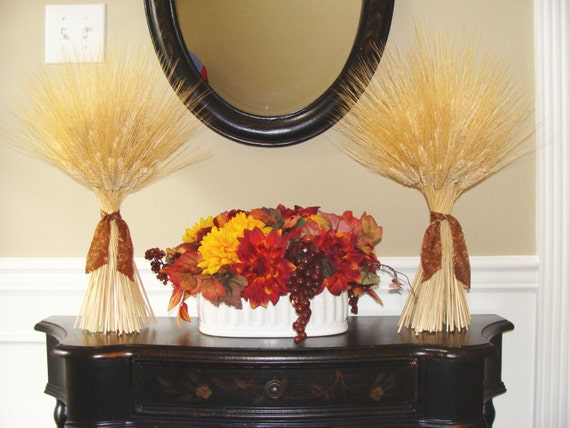 Fall Harvest Wheat Sheaves- Fall Decor- Thanksgiving Decor- Matching Wheat Fall Decorations- Fall Centerpiece- Mantle Decor