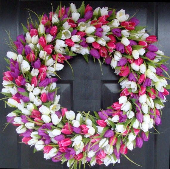 Spring Wreath- Door Wreath- Spring Decor- Tulip Wreath-Outdoor Spring Wreath- Easter Decoration Front Door Wreath- Wedding Wreath