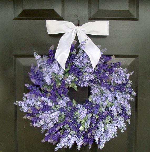 Lavender Wreath, Summer Wreath, Outdoor Wreath for Door, Floral Wall Decor, Door Decor- 18 inch