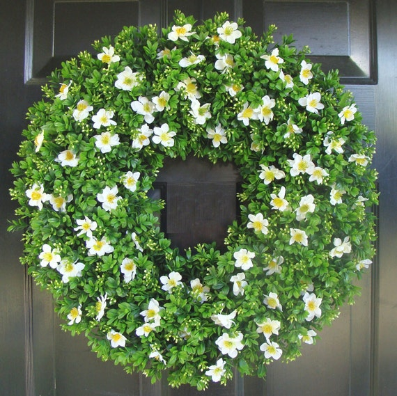 Boxwood Spring Wreath- Front Door Decor- Outdoor Boxwood Summer Wreath- Door Decor- Artificial Boxwood Wreath